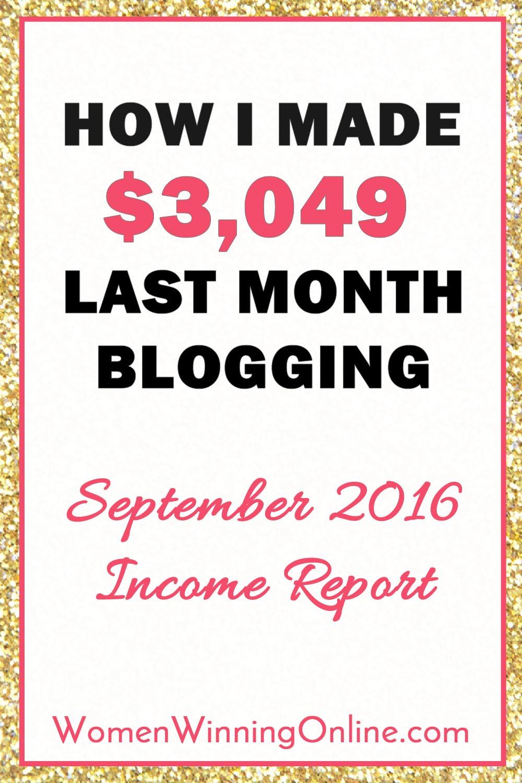 September 2016 Blog Income Report